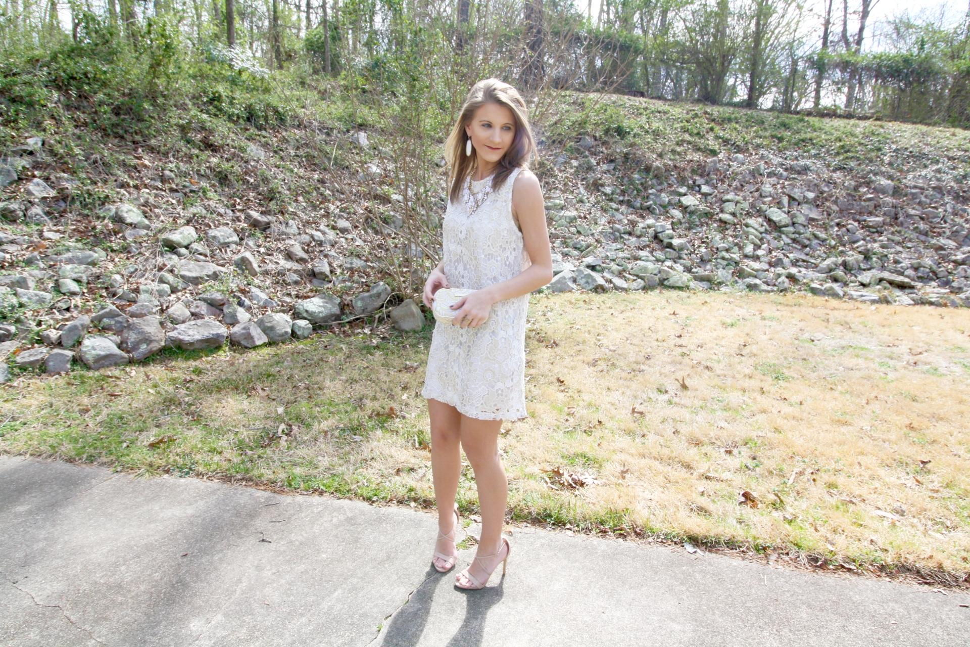 White & Gold Lace Dress