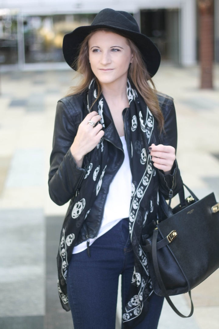 Shopping Outfit feat. Alexander McQueen Skull Scarf