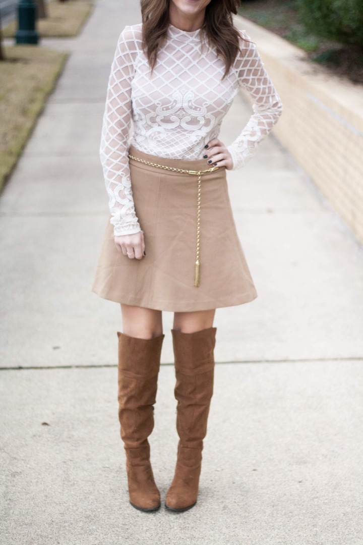 Lace Bodysuit & Short Skirt
