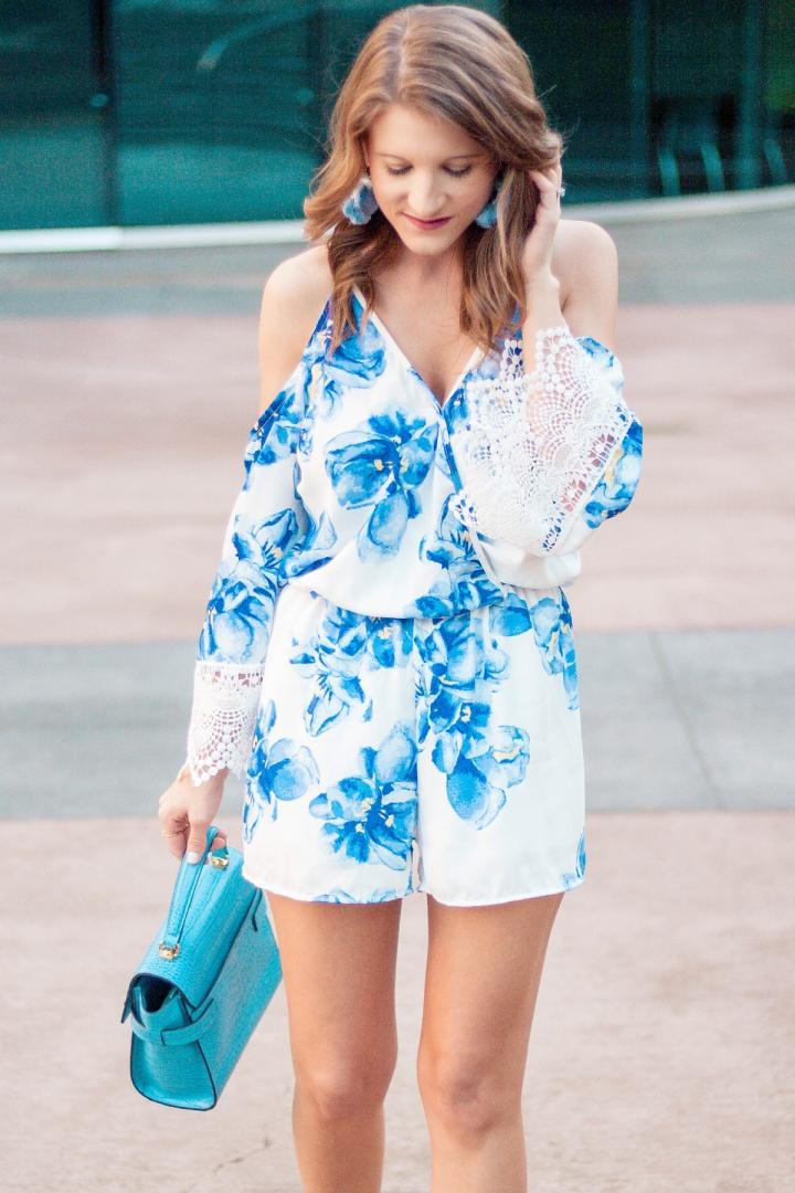 Blue Floral Romper