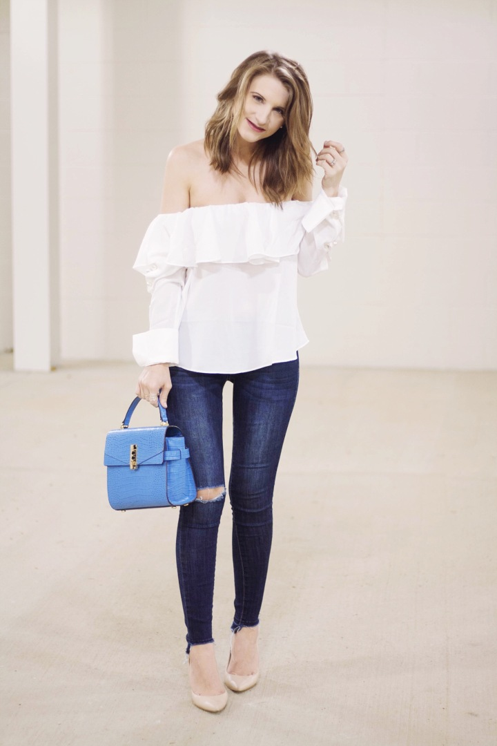 Tobi Pearl Accented OTS Top
