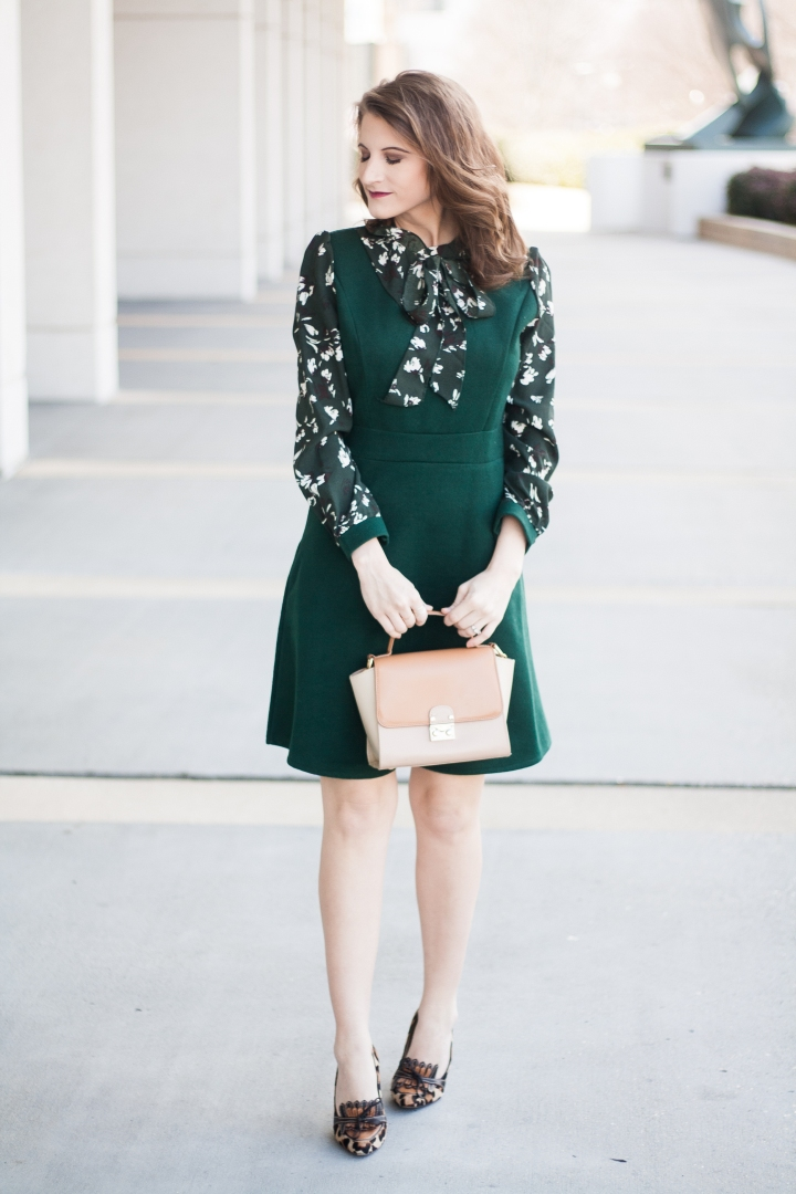 Work Wear: Green Floral Dress