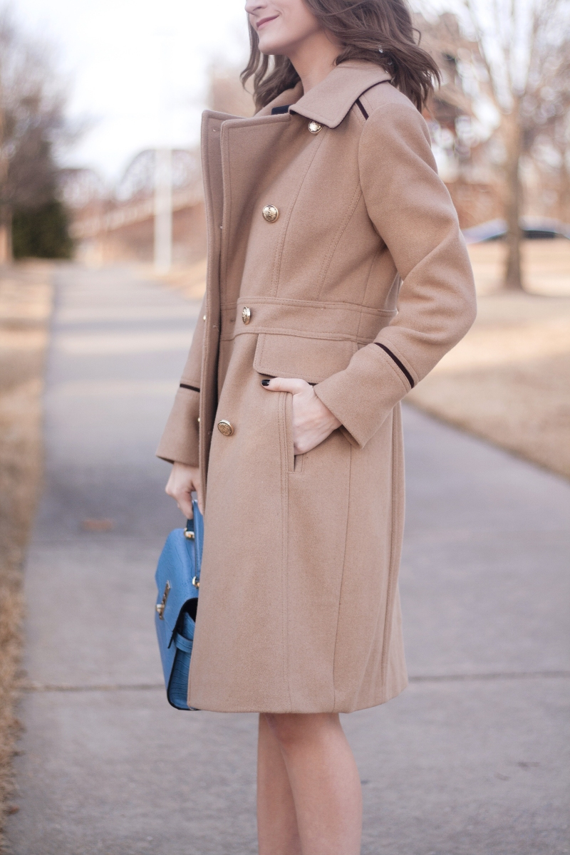 Camel Coat & Navy Sheath Dress